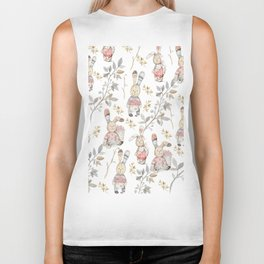 Cute Easter Bunnies with Watercolor Flowers,Sprigs and Leaves Biker Tank