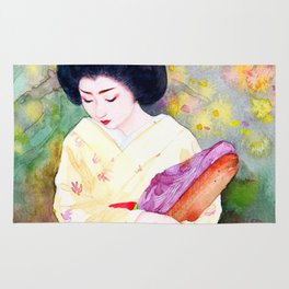 Watercolor Japanese Beauty - Lower Her Head Rug