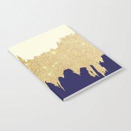 Navy blue ivory faux gold glitter brushstrokes Notebook