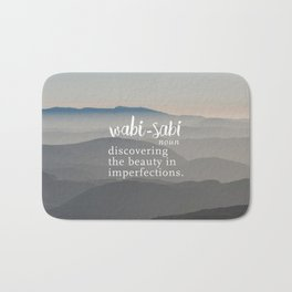 Wabi Sabi Word Nerd Definition - Mountains Bath Mat