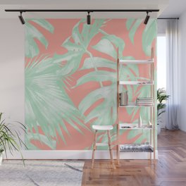 Island Love Coral Pink + Light Green Wall Mural