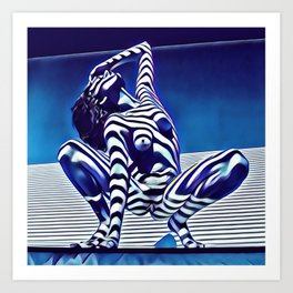 9124s-KMA Powerful Nude Woman Open and Free Striped in Blue Art Print