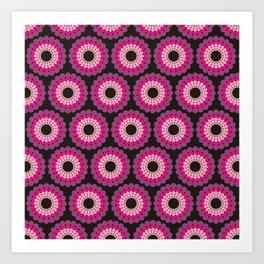 Purple pink circled polka dots Art Print