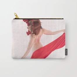 1568s-MM Bare Woman in Mask and Red Cloth Square High Key Art Nude Carry-All Pouch
