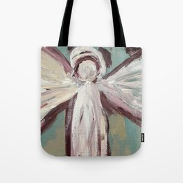 Impressionistic Angel #2 Maroon & Ivory Tote Bag