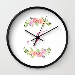 Floral Initial Letter I Wall Clock