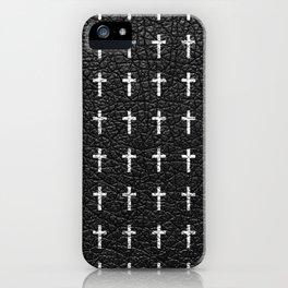 White Crosses Pattern Black Leather Photo Print iPhone Case