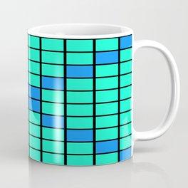 Aqua and Blue Grid Coffee Mug