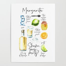 Margarita Recipe Watercolor Illustration Poster