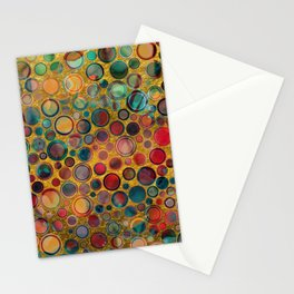 Dots on Painted and Gold Background Stationery Cards