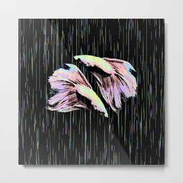 Pastel Siamese Fighting Fish In Electro Synchronicity Metal Print