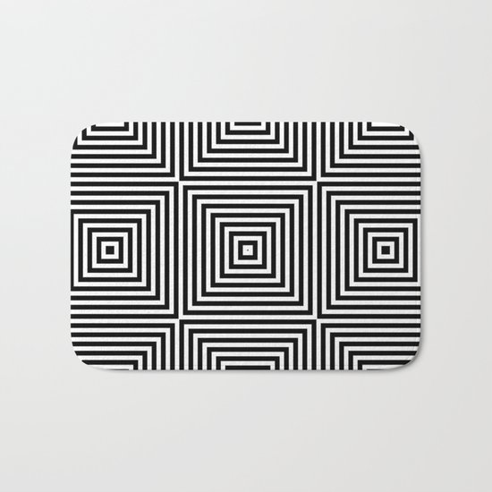 Square Optical Illusion Black And White Bath Mat