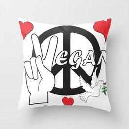 Vegan - Peace and Love Throw Pillow