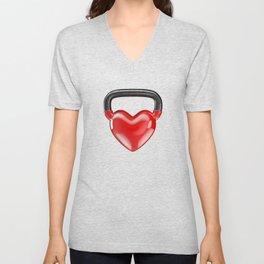 Kettlebell heart vinyl / 3D render of heavy heart shaped kettlebell Unisex V-Neck