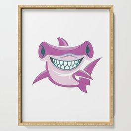 auntie shark doo doo doo pink ocean beach animals Gift Serving Tray