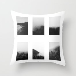 The Forests in Fog and Black and White Throw Pillow