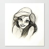 ariel Canvas Prints featuring Ariel by Herself