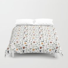 Bunnies and spring flowers Duvet Cover