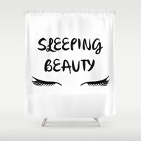 sleeping beauty Shower Curtains featuring SLEEPING BEAUTY by I Love Decor