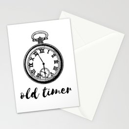 Old timer - funny retro watch Stationery Cards
