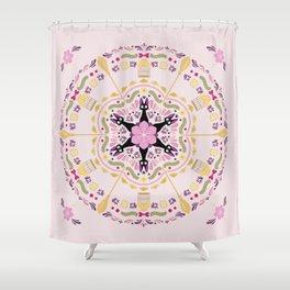 Cat & Sakura Mandala Shower Curtain