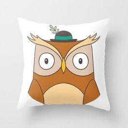Cartoon Abstract Owl Throw Pillow