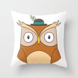 Cartoon Abstract Owl Throw Pillow