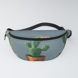 Three Cacti On Blue Background Fanny Pack