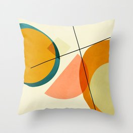mid century geometric shapes painted abstract III Throw Pillow