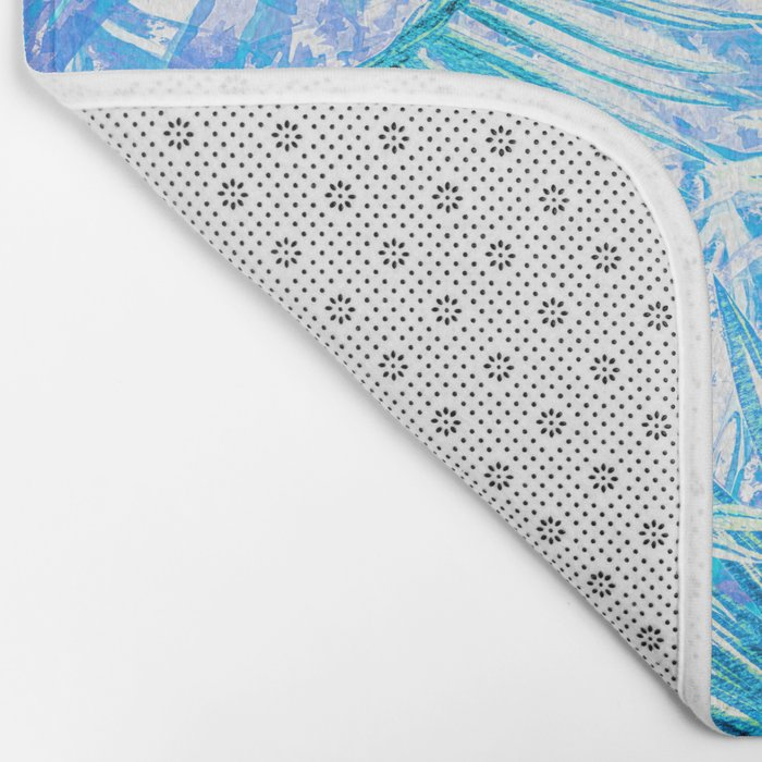 Aloha- Blue abstract Tropical Palm Leaves and Monstera Leaf Garden Bath Mat