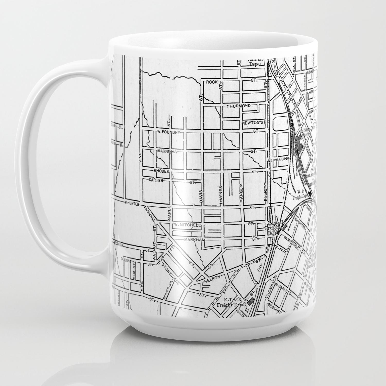 Vintage Map Of Atlanta Georgia 1901 Bw Coffee Mug By Bravuramedia Society6