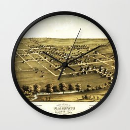 Bird's Eye View of Blairstown, Iowa (1868) Wall Clock