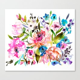WATERCOLOUR PEONY AND ROSES Canvas Print