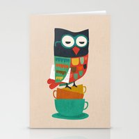 budi Stationery Cards featuring Morning Owl by Picomodi