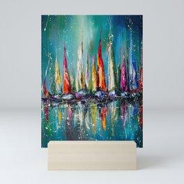 Boats in the harbor Mini Art Print