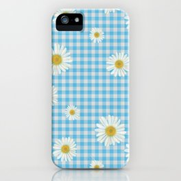 Daisies On Blue Gingham iPhone Case