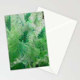 Green Lace Azalea Abstract  Stationery Cards