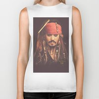 jack sparrow Biker Tanks featuring Jack Sparrow Digital Painting by Visionary Sea