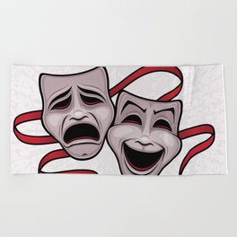 Comedy And Tragedy Theater Masks Beach Towel