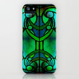 Green and Aqua Art Nouveau Stained Glass Art iPhone Case