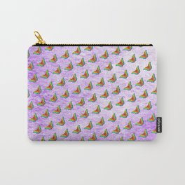 Rainbow butterflies on purple texture Carry-All Pouch