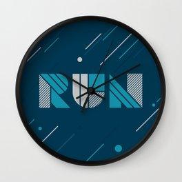 Run - Teal and Silver Geometric Type (Dark) Wall Clock