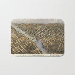 Aerial View of Grand Rapids, Michigan (1868) Bath Mat
