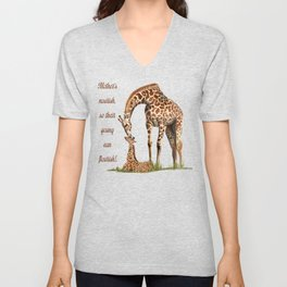 Mothers Giraffe and Calf Unisex V-Neck