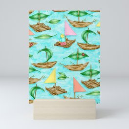 Happy Childhood Activities on a Cloud-reflecting River Mini Art Print