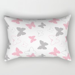 Pink Gray Butterfly Rectangular Pillow