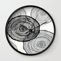 tree rings Wall Clocks featuring rings by Claire Rose Kleese