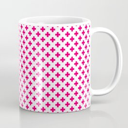 Small Hot Neon Pink Crosses on White Coffee Mug