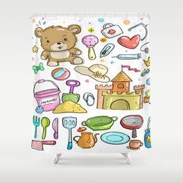 baby equipment child sketch hand Shower Curtain