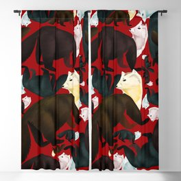 Sable marten tropical pattern Red Blackout Curtain